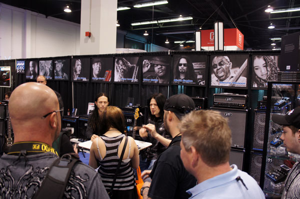 EBS Pedal endorsers Disturbed's John Moyer and SOiL's Tim King signing at EBS!