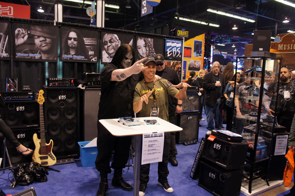 EBS Pedal endorser, Slipknot guitarist Mick Thomson signing at EBS.
