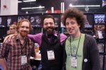Joe from MDG with EBS pedal endorser Justin Meldal-Johnsen and his tech, Mike Schuppan.