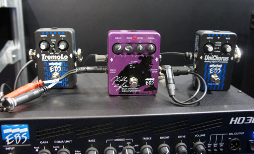 The EBS Billy Sheehan Pedal with a TremoLo hooked up through the Drive Loop, and a UniChorus through the Clean Loop. Super cool!