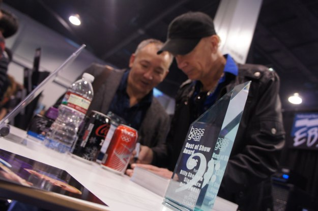 Billy Sheehan signing. With last years Best Of NAMM Show Award in the foreground.