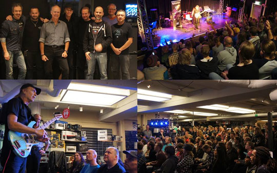 Top left corner: Billy Sheehan and the EBS crew at EBS headquarters. Top right: Master Class at Rytmus music school. Bottom left: Clinic at 4Sound Söder, Stockholm. Bottom right: Big crowd at 4Sound.