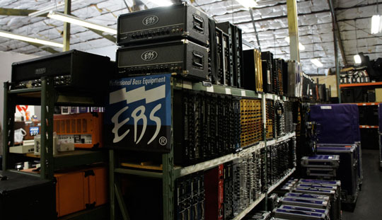 Bass amp department at Centerstaging Los Angeles.