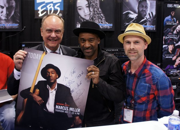 Marcus Miller with EBS CEO Bo Engberg and Marketing & Artist Relations Manager Ralf Bjurbo