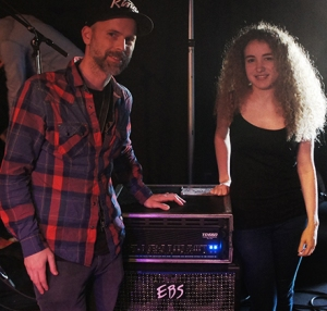 Ralf from EBS with Tal Wilkenfeld and the rig for the clinic.
